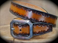Leather Belt Hand Tooled Custom made in New York City.