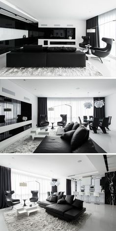 #piecedevie Apartment with Black And White Interior by Geometrix Design - Russie