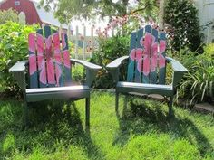 hand painted adirondack chairs with big bright by artinthegarden, $200.00