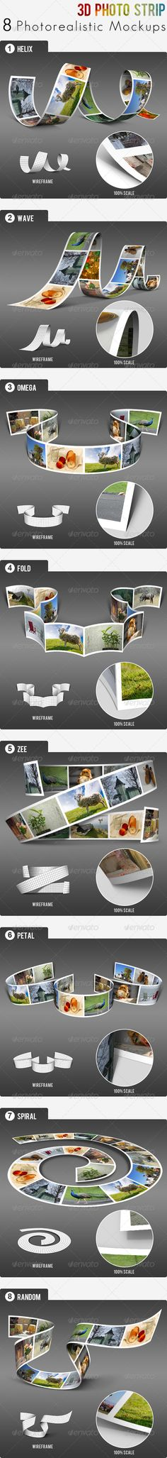 3D Photo Strip - Photorealistic Mockups #realistic #ribbon #shadow • Available here → http://graphicriver.net/item/3d-photo-strip-photorealistic-mockups/3354952?s_rank=808&ref=pxcr