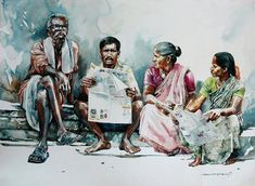 """Indian Watercolor Artist- """"Rajkumar Sthabathy"""" 1975 - Fine Art and You - Painting Watercolor Landscape Paintings, Watercolor Artists, Watercolor Illustration, Indian Illustration, Watercolor Sketch, Watercolor Portraits, Human Figure Sketches, Figure Sketching, Composition Painting"""
