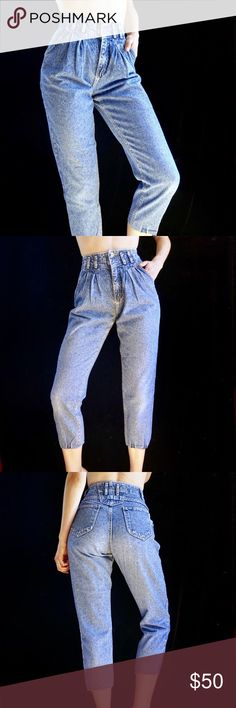 e7b9744cfcadbc Pleats in front and tapered, cropped leg with raw hem. Model is a 26 and  Vintage Jeans Ankle & Cropped