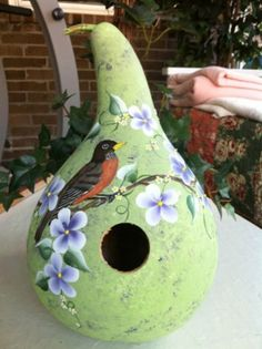 Painted Gourd Birdhouse Handpainted Robin