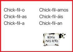 Chick-fil-ar: Spanish verb inventing for beginners (metalinguistic awareness activity) (estudiafeliz) Spanish Sentences, Spanish Jokes, Funny Spanish Memes, Spanish Grammar, Spanish 1, Spanish Teacher, Spanish Lessons, Learn Spanish, Spanish Language