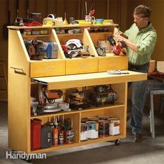 Store all your power tools, hand tools, paint and other supplies in this compact, efficient storage unit. It has shelves, drawers and a pullout table for sorting tools and doing small repairs. It's handsome and easy to build, too.