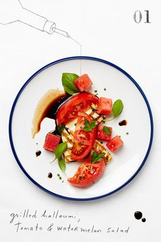 Grilled halloumi, tomato and watermelon salad. Food Design, Vegetarian Recipes, Cooking Recipes, Healthy Recipes, Salade Healthy, Grilled Halloumi, Grilled Tomatoes, Food Porn, Chefs