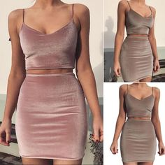 Women Two Piece Spaghetti Straps Dress Bodycon Outfit Crop Top Mini Summer  Skirt 29f6a6958
