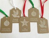 Kraft Christmas Tags - Holiday Gift Tags - Christmas Gift Tags - Kraft and White Tags - Christmas Favor Tags  - Winter Tags - Star Tags