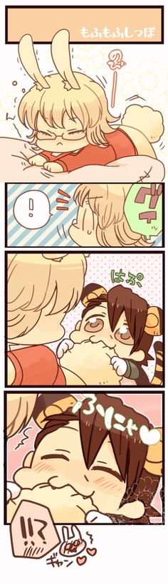 Cute little bunny and tiger Bunny Images, Fanart, Tiger And Bunny, Cute Love, Hetalia, Anime Characters, Chibi, Kawaii, Animation