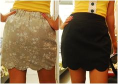 Grimes, look at this reversible scalloped hem skirt tutorial! Diy Clothing, Sewing Clothes, Clothing Patterns, Do It Yourself Inspiration, Mode Inspiration, Scalloped Skirt, Scalloped Edge, Reversible Skirt, Diy Vetement