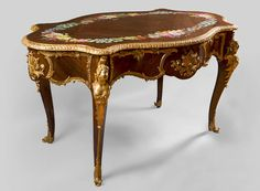 TAHAN Manufactory, Julien-Nicolas RIVART and Pierre-Joseph GUEROU - Exceptional Louis XV style violin-shaped Desk Decorated with porcelain marquetry And gilt bronze espagnolettes (Reference - Available at Galerie Marc Maison French Furniture, Antique Furniture, Painted Furniture, Saint Ouen, Yellow Tulips, Second Empire, Architectural Antiques, Cabinet Makers, Home