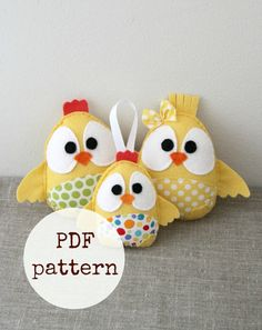 Easter chicks toy pattern, farm animal, PDF sewing pattern, yellow
