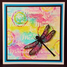 Live In Colour - visible image stamps - dragonfly stamp - live in the moment - pauline butcher