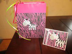 baby shower zebra theme matching card and bag------cricut cartridge create a critter