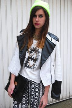 Two shoes one pair in our boohoo boutique biker jacket! Shop >> http://www.boohoo.com/restofworld/clothing/boohoo-boutique/icat/boohoo-boutique/all-coats/boutique-beth-boucle-and-quilt-monochrome-biker-jacket/invt/azz55296