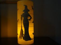 Halloween Lantern, Halloween candle, black cat, witch,vintage halloween, Halloween candle holder lantern Witch with by MYSTICALLYENCHANTING, $17.50