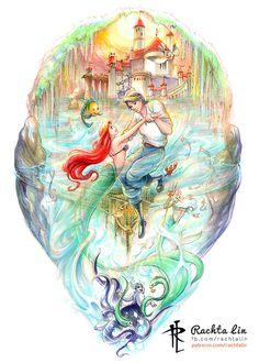 (Disney) the little mermaid – ariel & eric – rachta lin – a multi-disciplinary artist residing in singapore Disney Artwork, Disney Fan Art, Disney Fun, Disney Drawings, Disney Little Mermaids, Ariel The Little Mermaid, Ariel Mermaid, Little Mermaid Prince, Disney Princess Ariel