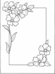 Hand Embroidery and Its Types - Embroidery Patterns Page Borders Design, Border Design, Colouring Pages, Coloring Books, Flower Patterns, Flower Designs, Flower Borders, Embroidery Patterns, Hand Embroidery