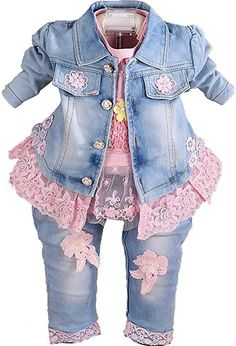 YYA Baby Girls Denim Clothing Sets 3 Pieces Set Pink * Make certain to take a look at this outstanding item. (This is an affiliate link). Cute Baby Girl Outfits, Cute Baby Clothes, Pretty Outfits, Doll Clothes, Kids Outfits, Baby Girls, Denim And Lace, Floral Denim, Lace Outfit