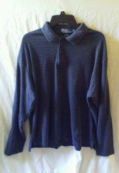 Polo Ralph Lauren Gray Striped Long Sleeve Golf Polo Shirt Size XL #PoloRalphLaurenLongSleevePoloShirtSizeXL #Men'sLongSleevePoloShirtSizeXL