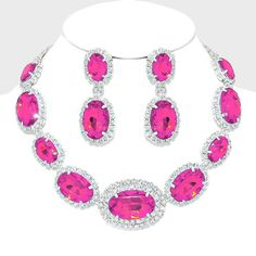 Hot Pink Crystal Rhinestone Formal Wedding Bridal Prom Party Pageant Bridesmaid Evening Oval Stone Collar Necklace Earrings Set Elegant Costume Jewelry