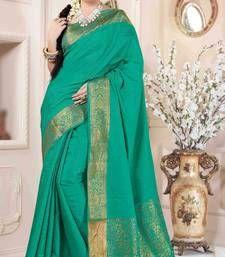 Buy Green plain art silk saree with blouse banarasi-silk-saree online