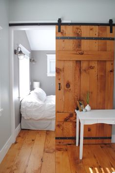 Guest Bedroom - Studio Home - Loft Ideas - Barn Door - Rustic Interior - Room Divider