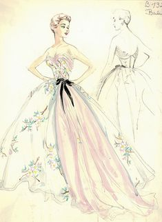Balmain Haute Couture fashion illustration. Strapless evening ball gown in pink color and also in flower floral patterned print, beautifully gather at the bust with a bow at the waist and a pink flowing train at the left side of the dress. Includes back views in pencil. Bergdorf Goodman 1950s #Collection #Balmain #Fashion