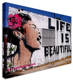 Banksy Life Is Beautiful Woman - Modern Graffiti Wall Art Canvas Print