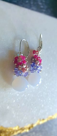Natural Blue Chalcedony with Tanzanite and Pink Rubies