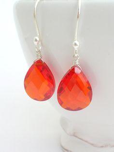 Bright Orange Red CZ Earrings burnt tangerine orange jewelry large pear drop in sterling silver women fashion