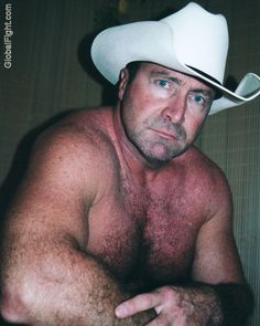 tough hot cowboy daddybear hairychest guy