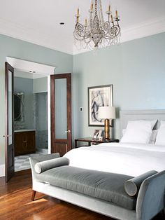 Modern Style The gray-blue hue also works well in contemporary settings. In this bedroom, white moldings and bedding and dark-stained wood floors are neutral complements to the gray-blue walls. Gray Bedroom, Trendy Bedroom, Bedroom Colors, Home Decor Bedroom, Bedroom Ideas, Bedroom Makeovers, Bedroom Bed, Design Bedroom, Master Suite Bedroom