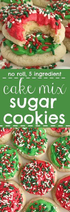 Easy Cake Mix Sugar Cookies   Sugar Cookies   Christmas Cookies   5 Ingredient   No roll sugar cookies   No chill sugar cookies   www.togetherasfamily.com #christmascookies #cakemixcookies #sugarcookies