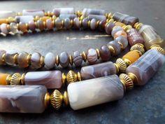 Ágata gris collar marrón gris piedra collar, Botswana ágata, Triple collar, collar de ágata Triple