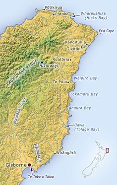 This map shows the tribal area as defined under the Te Rūnanga o Ngāti Porou Act The map highlights some of the major natural features and townships of the area. East Cape, New Zealand, Roots, City Photo, Culture, Places, Holiday, Image, Infinity
