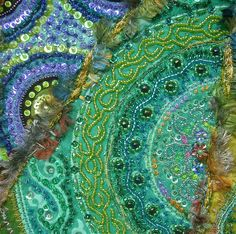 beautiful crazy quilting, embroidery and beading.