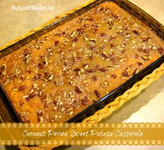 Coconut Pecan Sweet Potato Casserole Recipe ~  This casserole is sweet & savory and full of flavor, with shredded coconut, sweet potatoes and a buttery, brown sugar and pecan topping!