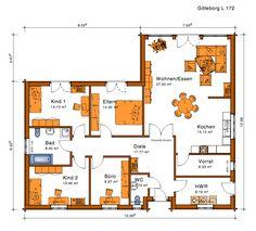 Grundfläche: 172m² Grundriss drucken Apartment Floor Plans, Bedroom Floor Plans, One Bedroom Apartment, House Floor Plans, Facade Design, House Design, Baltimore Apartment, Open Floor Concept, Affordable House Plans
