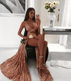 Charming Sexy Sequin Sparkly Simple Rose Gold and Black Split Fashion Popular Prom Dresses, Evening dresses, · fitdesigndress · Online Store Powered by Storenvy Prom Girl Dresses, Sequin Prom Dresses, Prom Outfits, Black Prom Dresses, 15 Dresses, Ball Dresses, Cute Dresses, Formal Dresses, Split Prom Dresses