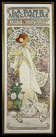 Sarah Bernhardt  Artist-Alphonso Mucha.     I love the little stars in this image
