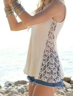 Diy turning a plain tank top to something really cute by adding lace to the sides. For the girls!