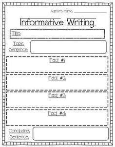 First Grade Informational Writing Organizer