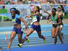 The U.S. women's 4x100 relay dropped the baton on the second exchange on Thursday in the qualifying heats, knocking them out of the final. However, Allyson Felix said she was bumped by a Brazilian runner right before she got to the zone, and replays confirmed. Brazil was disqualified, and a U.S. appeal was upheld.  2016-8-18 allyson felix