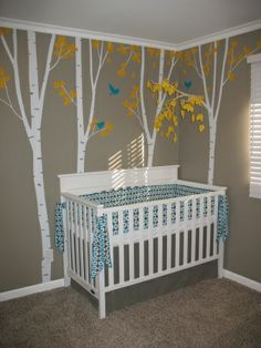 Woodland Nursery Decor | Woodland Creature Nursery, Blue and Yellow Boys Woodland Creature ...