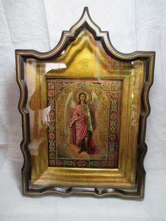 Икона киот Св Архангел Михаил цировка золото 19 в