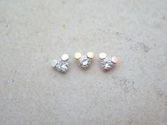 CZ stud Piercing/Tragus Earring/Cartilage earring/Simple Disc piercing/Tragus Piercing/CZ piercing/Labret bar optional/Helix Earring/conch by MinimalBijoux on Etsy
