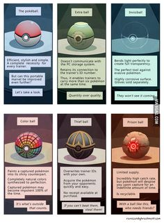 Types of pokeballs - Funny Pokemon - Funny Pokemon meme - - Types of pokeballs The post Types of pokeballs appeared first on Gag Dad. <- The last ball could be useful for any Mon who has Frustration Pokemon Comics, Pokemon Memes, Pokemon Funny, Pokemon Fan Art, Pokemon Fusion, Cute Pokemon, Pokemon Go, Pokemon Cards, Pokemon Sketch