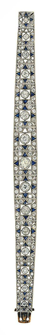 An Art Deco diamond and synthetic sapphire bracelet Composed of a tapered line of square pierced panels, each with old brilliant-cut diamond collet centre and old brilliant-cut diamond surrounds with triangular-cut synthetic sapphire quarter detail, circa 1930, 18.0cm long