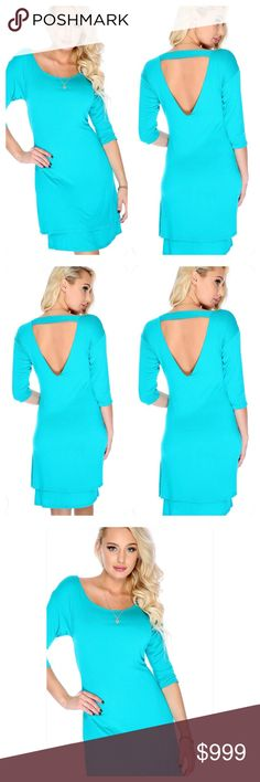Aqua Betty Dress SALE‼️ Beautiful Aqua detailed dress! Great for any occasions. Open slit in back with an awesome design. Great length and beautiful! 2 layered design at the bottom and very comfortable! 100%polyester Dresses Midi